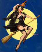 Sexy Witch Posters - Halloween Witch Pinup Girl Poster by Tilen Hrovatic