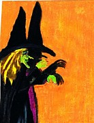 Green Monster Pastels Prints - Halloween Witches Shadow Print by Jo-Ann Hayden