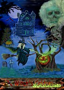 Haunted House Digital Art Metal Prints - Halloween Witchs Coldron Metal Print by Glenn Holbrook