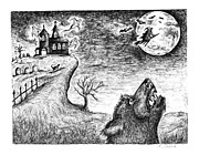 Haunted House Drawings Framed Prints - Hallows Eve Framed Print by Karen Sirard