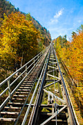 Inclined Prints - Hallstatt Funicular Print by David Waldo