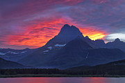 Glacier National Park Prints - Halo on the Mountain Print by Andrew Soundarajan