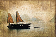 Boat Cruise Posters - Halong Bay vintage Poster by Delphimages Photo Creations