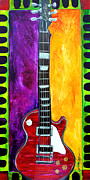 Guitar Strings Painting Originals - Hals Red Guitar by gail Denney Shelton