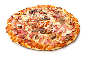 Olives Photo Posters - Ham And Mushroom Pizza On White Poster by Fizzy Image