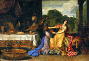 Famous Artists - Haman begging Esther for mercy by Pieter Lastman