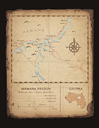 Old Map Digital Art Framed Prints - Hamana Region map Framed Print by Dave Kobrenski