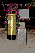 Pillar Box Prints - Hamble Gold Post Box for Dani King Print by Terri  Waters
