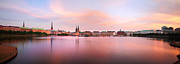 Evening Light Prints - Hamburg Afterglow Print by Marc Huebner