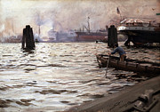 Hamburg Paintings - Hamburg Harbor 1891 by Anders Zorn
