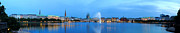 Evening Light Prints - Hamburg Panorama in Blue Print by Marc Huebner