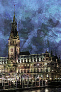 Hamburg Digital Art Posters - Hamburg Rathaus Poster by Colin Hunt