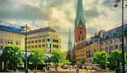 Street Lamps Digital Art Prints - Hamburg Street Scene Print by Jeff Kolker