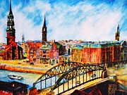Hamburg Painting Prints - Hamburg - The Beauty At The River Print by Dagmar Helbig