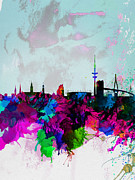 Hamburg Watercolor Skyline Print by Irina  March