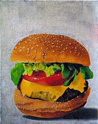 Lettuce Painting Prints - Hamburger Print by Andrea Nally