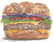 Burger Drawings Framed Prints - Hamburger Framed Print by Chu-Hua Mou