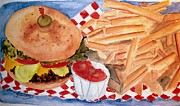 Fries Painting Framed Prints - Hamburger Plate with Fries Framed Print by Carol Grimes
