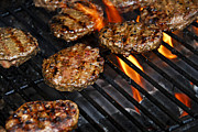 Eat Photo Metal Prints - Hamburgers on barbeque Metal Print by Elena Elisseeva