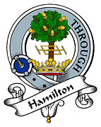 Genealogy Prints - Hamilton Clan Badge Print by Heraldry