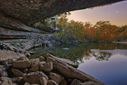 Hamilton Pool Texas Posters - Hamilton Pool Autumn Moonset in the Texas Hill Country Poster by Rob Greebon