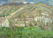 Architecture Paintings - Hamlet in the Cliffs near Giverny by Claude Monet