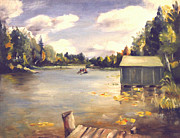 Mid West Landscape Art Posters - Hamlin Lake Dock 1945 Poster by Art By Tolpo Collection