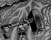 Thor Drawings Prints - Hammer Of Thor Print by Jeremy Moore