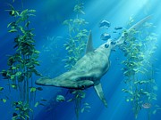 Shark Digital Art Prints - Hammerhead Art Print by Daniel Eskridge