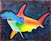 Sharks Mixed Media Prints - Hammerhead Shark Print by Laura Barbosa