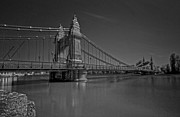 City Of Bridges Posters - Hammersmith Thames Bridge bw Poster by David French