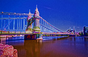 London Scenes Prints - Hammersmith Thames Bridges  Print by David French