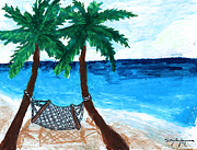 Summer Vacation Pastels Framed Prints - Hammock by the Beach. Framed Print by William Depaula
