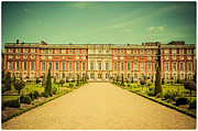Lenny Carter Framed Prints - Hampton Court Palace Gardens as seen from The Knot Garden Framed Print by Lenny Carter