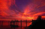 Photo-manipulation Photo Posters - Hampton Roads Sunset Poster by ABeautifulSky  Photography