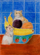 Plum Pastels - Hamsters in Fruit Bowl  by Jeanette K
