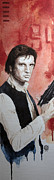 Wars Painting Metal Prints - Han Solo Metal Print by David Kraig