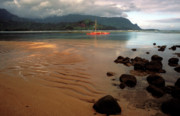 Kauai Prints Prints - Hanalei Bay at Dawn Print by Kathy Yates