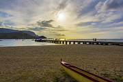 Sunset Seascape Framed Prints - Hanalei Bay Pier Outrigger Canoe Sunset - Kauai Hawaii Framed Print by Brian Harig