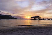 Sunset Seascape Framed Prints - Hanalei Bay Pier Sunset 3 - Kauai Hawaii Framed Print by Brian Harig