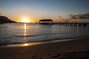 Kauai Pier Posters - Hanalei Bay Sunset Poster by Brian Harig