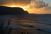 Pacific Ocean Acrylic Prints - Hanalei Bay Sunset Acrylic Print by Greg Cross