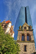 Autumn Scene Framed Prints - Hancock Tower Over Trinity Church Framed Print by Joann Vitali