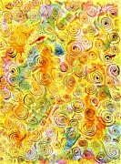 Hand-drawn Abstract Background With Spirals On Yellow Green Pink Print by Ion vincent DAnu