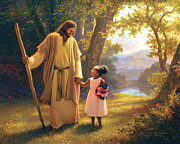 Smiling Jesus Metal Prints - Hand in Hand Metal Print by Greg Olsen