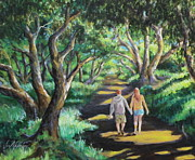Live Oak Trees Paintings - Hand in Hand in the Live Oak by Jan Mecklenburg