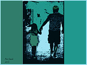 Evening Lights Prints - Hand In Hand With Dad Print by Patricia Swink