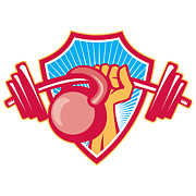 Training Prints - Hand Lifting Barbell Kettlebell Crest Print by Aloysius Patrimonio