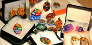 Hand Painted Ceramics Posters - Hand-made Earrings Poster by Deepti Mittal