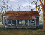 Tin Roof Posters - Hand Painted Art Dogtrot House in Pleasant Hill Louisiana Poster by Lenora  De Lude